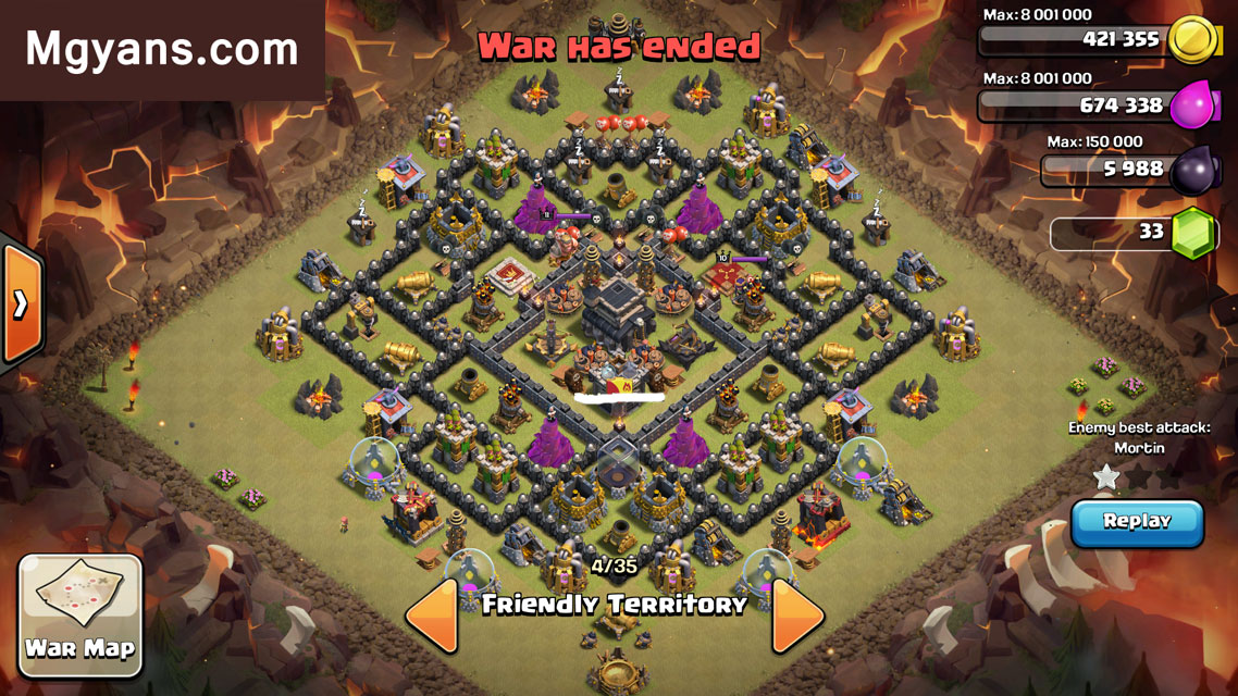 3-star Clash of Clans Th9 War Base