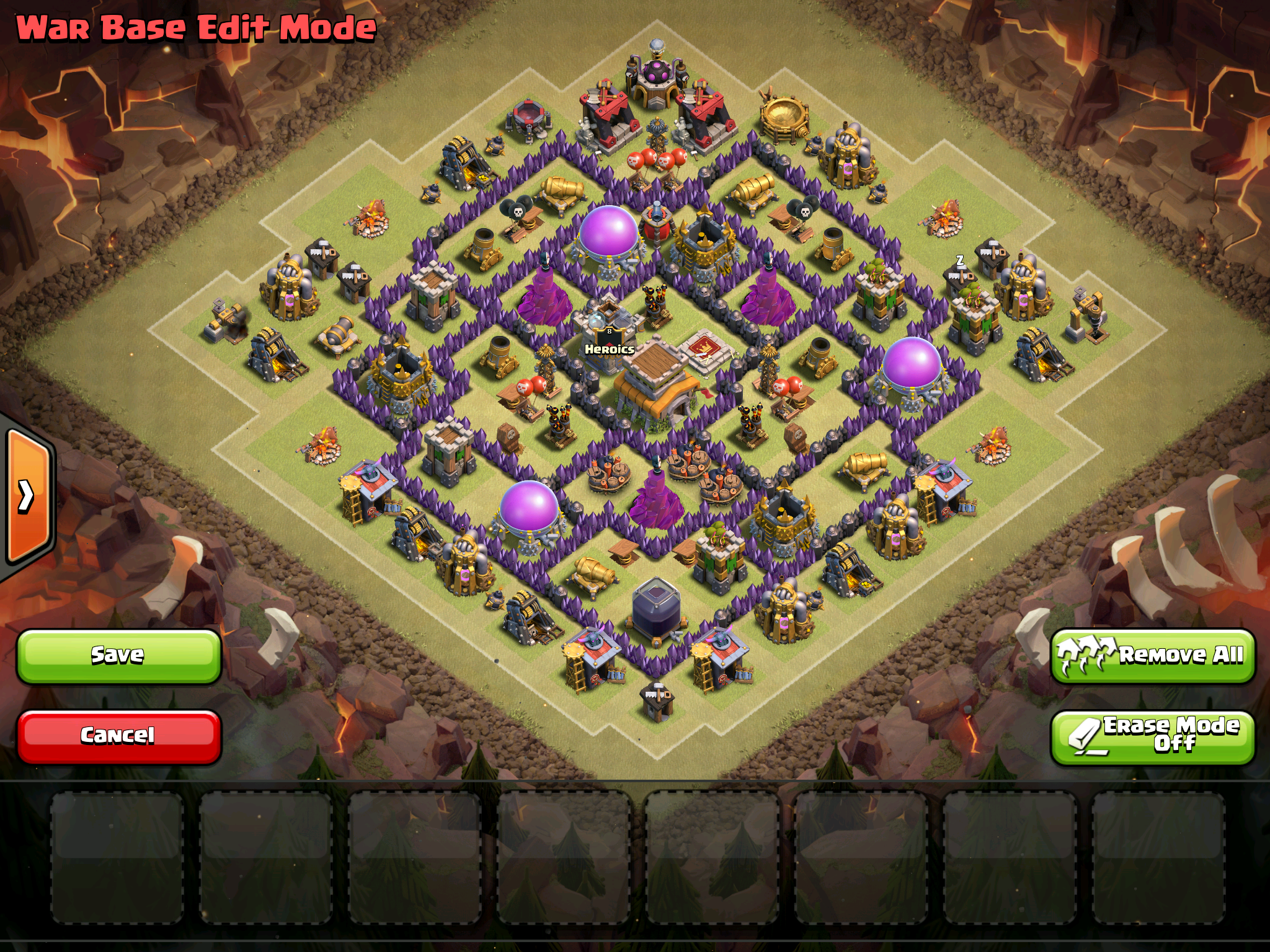 Town Hall 8 Anti Dragon War Base layout