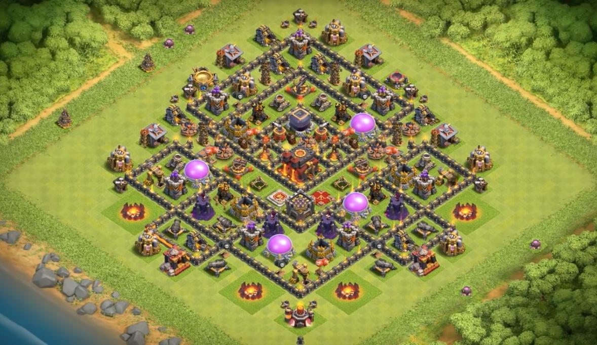 TH10 farming base dark elixir bombtower