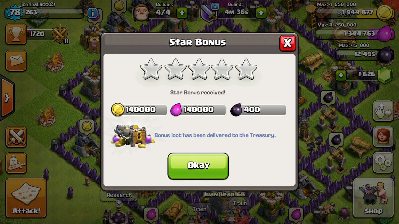 Clash of Clans Daily Star Bonus
