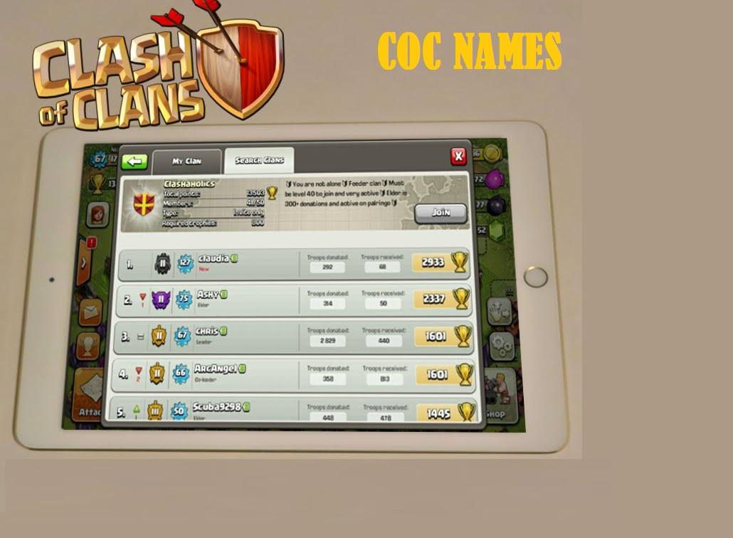 100 Unique Clash of Clans Names Ideas