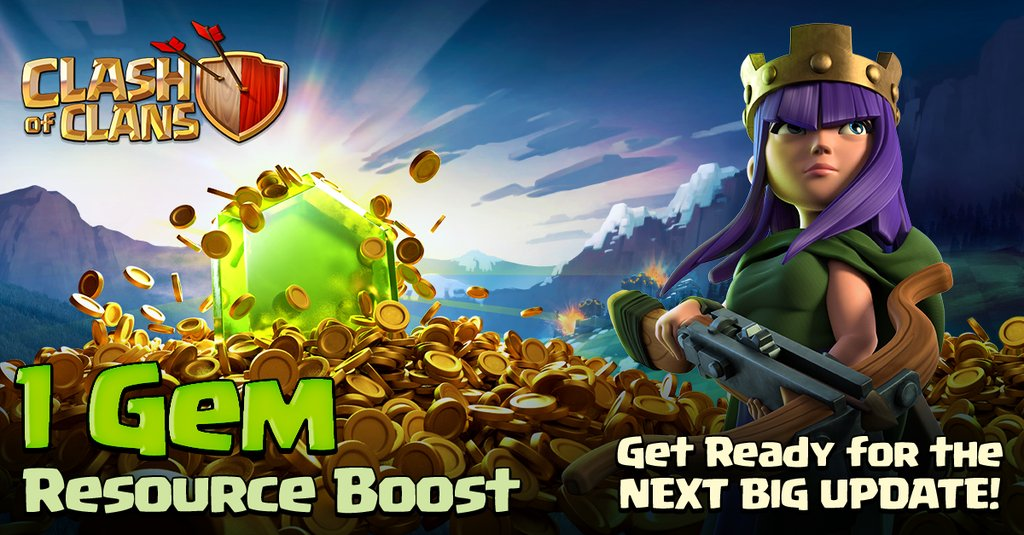 clash of clans 1 gem boost schedule 2016